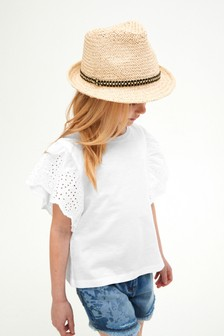 White Broderie Frill Sleeve Top (3-16yrs)
