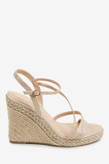 Shimmer Strappy Plaited Glam Wedges