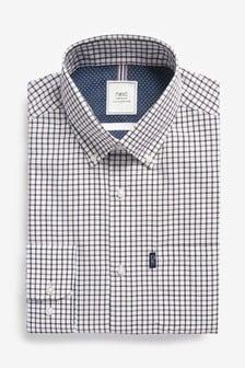 Ochre Tattersall Regular Fit Single Cuff Easy Iron Button Down Oxford Shirt