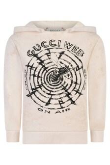 Boys White Cotton Gucci Web Hoody