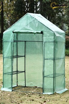 Green Greenhouse with Shelves by Outsunny