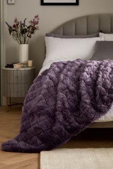 Mauve Purple Hamilton Cut Faux Fur Throw