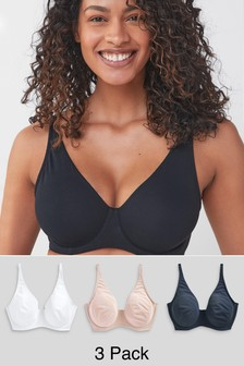 Navy/White/Pink DD+ Non Pad Full Cup Cotton Blend Bras 3 Pack