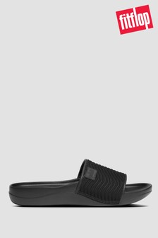 FitFlop™ Black iQushion™ Neo Prine Wave Pool Slides