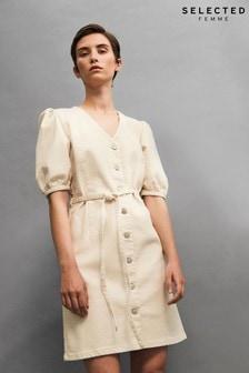 Selected Femme Sustainable Cream Stretch Sophia Denim Dress
