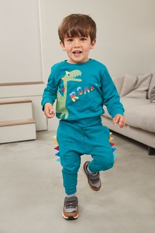 Teal Dino Appliqué Crew And Joggers Set (3mths-7yrs)
