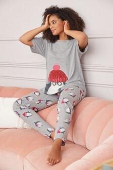 Grey Penguin Cotton Blend Pyjamas