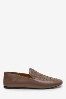 Taupe Signature Leather Square Toe Woven Loafers
