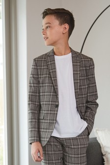 Grey/Black Skinny Fit Check Suit Jacket (12mths-16yrs)