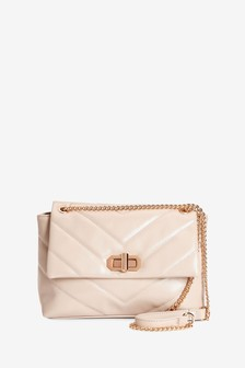 Nude Quilted Chain Handle Bag