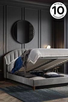 Opulent Velvet Steel  Stella Ottoman Storage Bed
