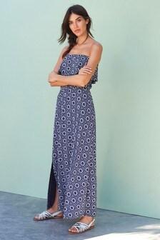 Navy/White Geo Bandeau Maxi Dress