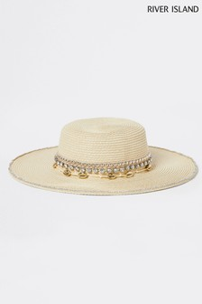 River Island Beige Shell Straw Hat