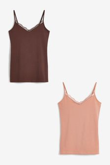 Nude/Dark Nude Lace Trim Vests Two Pack