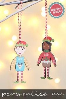 Personalised Children's Family Elf Bauble by Oakdene