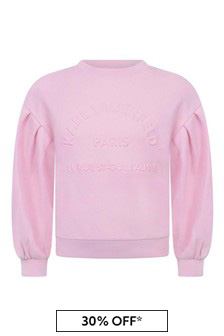 Girls Pink Cotton Logo Sweater
