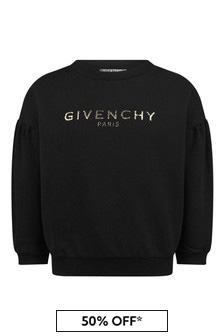 Girls Black Fleece Logo Sweater
