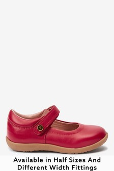 Red Leather Standard Fit (F) Little Luxe™ Mary Jane Shoes (Younger)