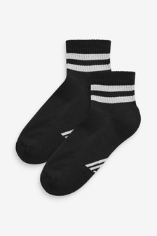 Black Cushion Sole Cropped Ankle Sports Socks Two Pack