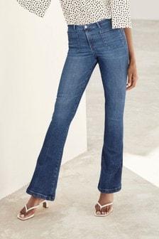 Dark Blue Pocket Front Flare Jeans