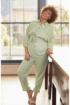 Sage Maternity Button Front Jumpsuit