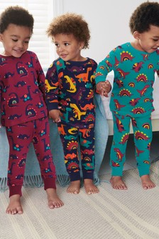 Plum 3 Pack Dinosaur Snuggle Pyjamas (9mths-8yrs)