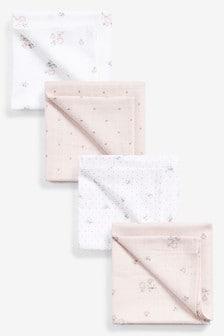 Pink Floral 4 Pack Muslin Cloths (Newborn)