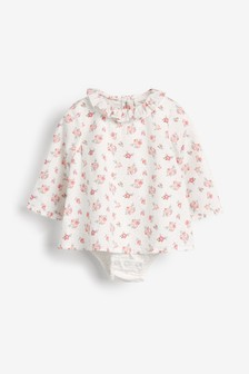 Ecru Woven Ditsy Print Integrated Body (0mths-3yrs)