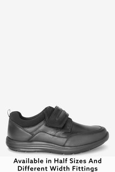 Black Wide Fit (G) Leather Single Strap Shoes
