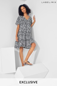 Next/Mix Printed Jersey Mini Dress