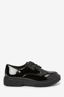 Black Patent Chunky Lace-Up Shoes (Older)