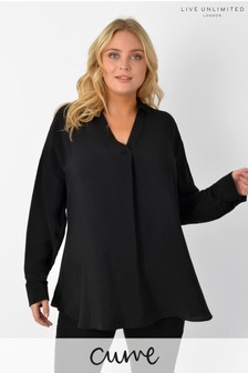 Live Unlimited Curve Black Over The Head Blouse