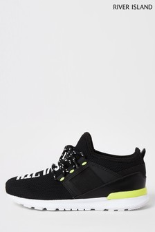 River Island Black Mesh Svnth Runner Trainers