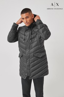Armani Exchange Black Hooded Padded Jacket
