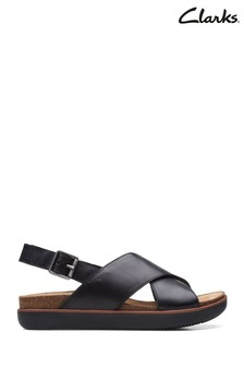 Clarks Black Leather Elayne Cross Sandals