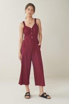 Berry Button Front Jumpsuit