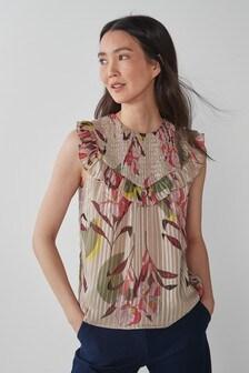 Tan Floral Sparkle Stripe Shirred Yoke Sleeveless Top