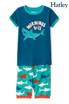 Hatley Blue Great White Sharks Cotton Short Pyjama Set