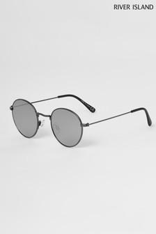 River Island Silver Black Flash Mirror Round Sunglasses