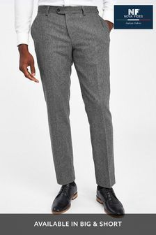 Grey Tailored Fit Herringbone Suit: Trousers