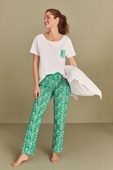 Green Floral Cotton Blend Pyjamas