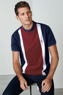 Navy/Red Slim Fit Vertical Block Poloshirt