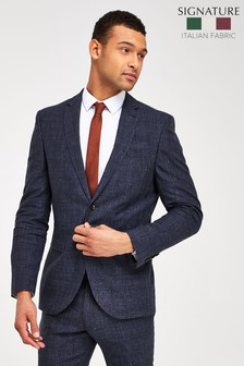 Blue Linen Blend Jacket Slim Fit Signature Check Suit: Jacket