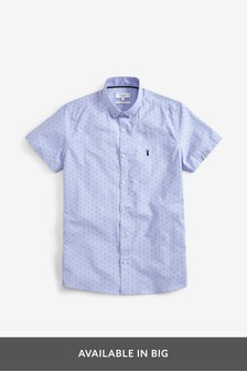 Blue Print Short Sleeve Stretch Oxford Shirt