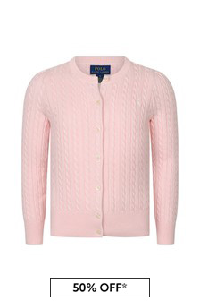 Girls Pink Cotton Cable Knit Cardigan
