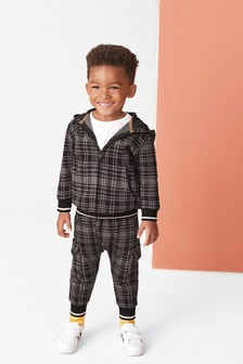 Grey Check Jersey Zip Through And Joggers Set (3mths-7yrs)