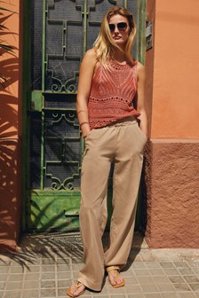 Sand Wide Leg Trousers