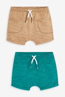 Teal/Tan 2 Pack Slub Shorts (0mths-2yrs)