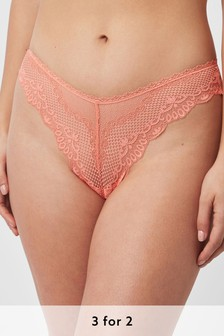 Coral Extra High Leg Microfibre And Lace Knickers