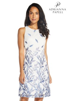 Adrianna Papell Blue Leaf Embroidered A-Line Dress